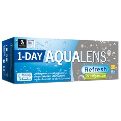 aae1dd38da AQUALENS REFRESH 1DAY TORIC DAILY DISPOSABLE SILICON HYDROGEL CONTACT  LENSES FOR ASTIGMATISM (30 LENSES)